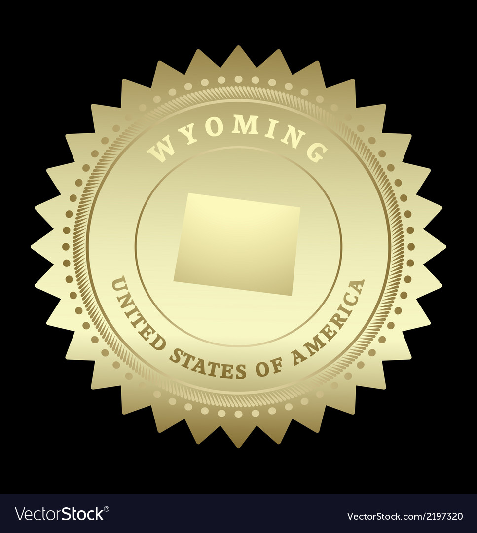 Gold star label wyoming vector | Price: 1 Credit (USD $1)