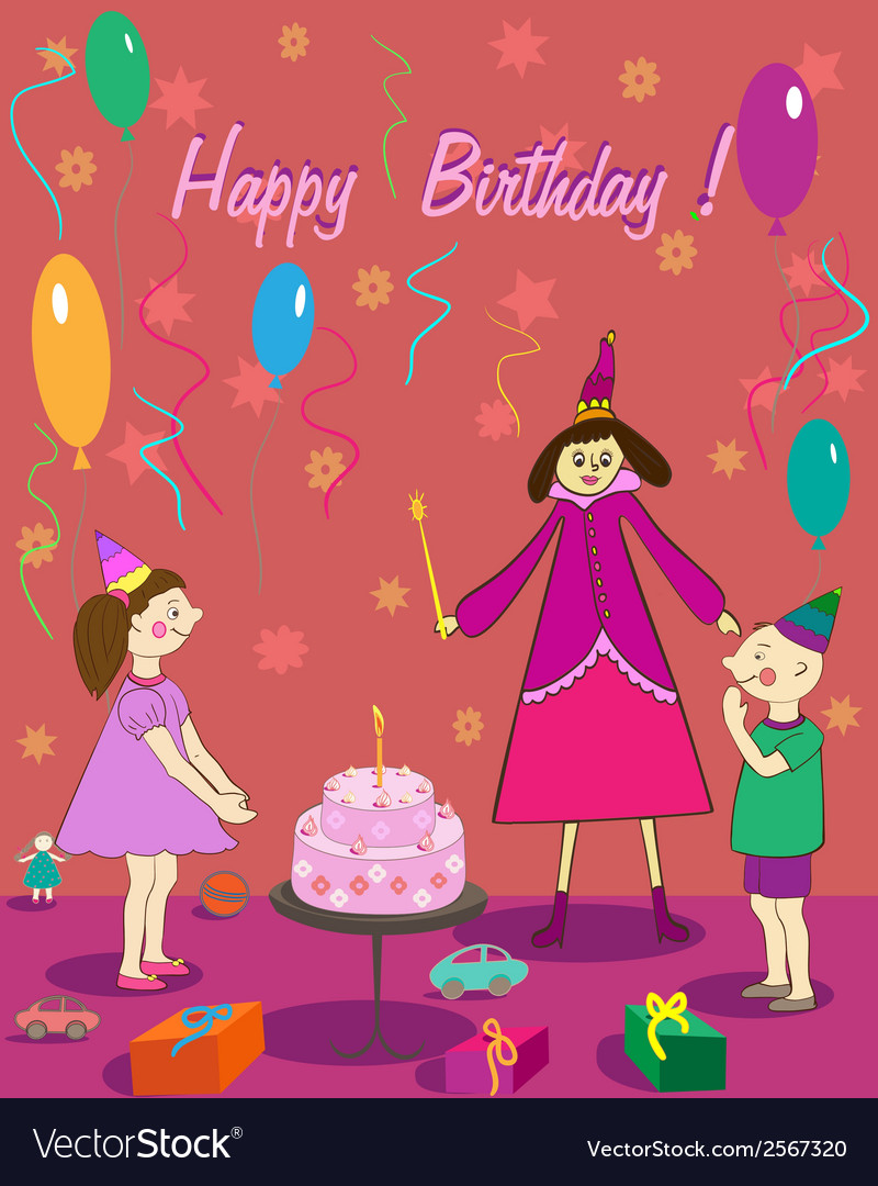 Happy birthday gift girl boy cake and fairy vector | Price: 1 Credit (USD $1)
