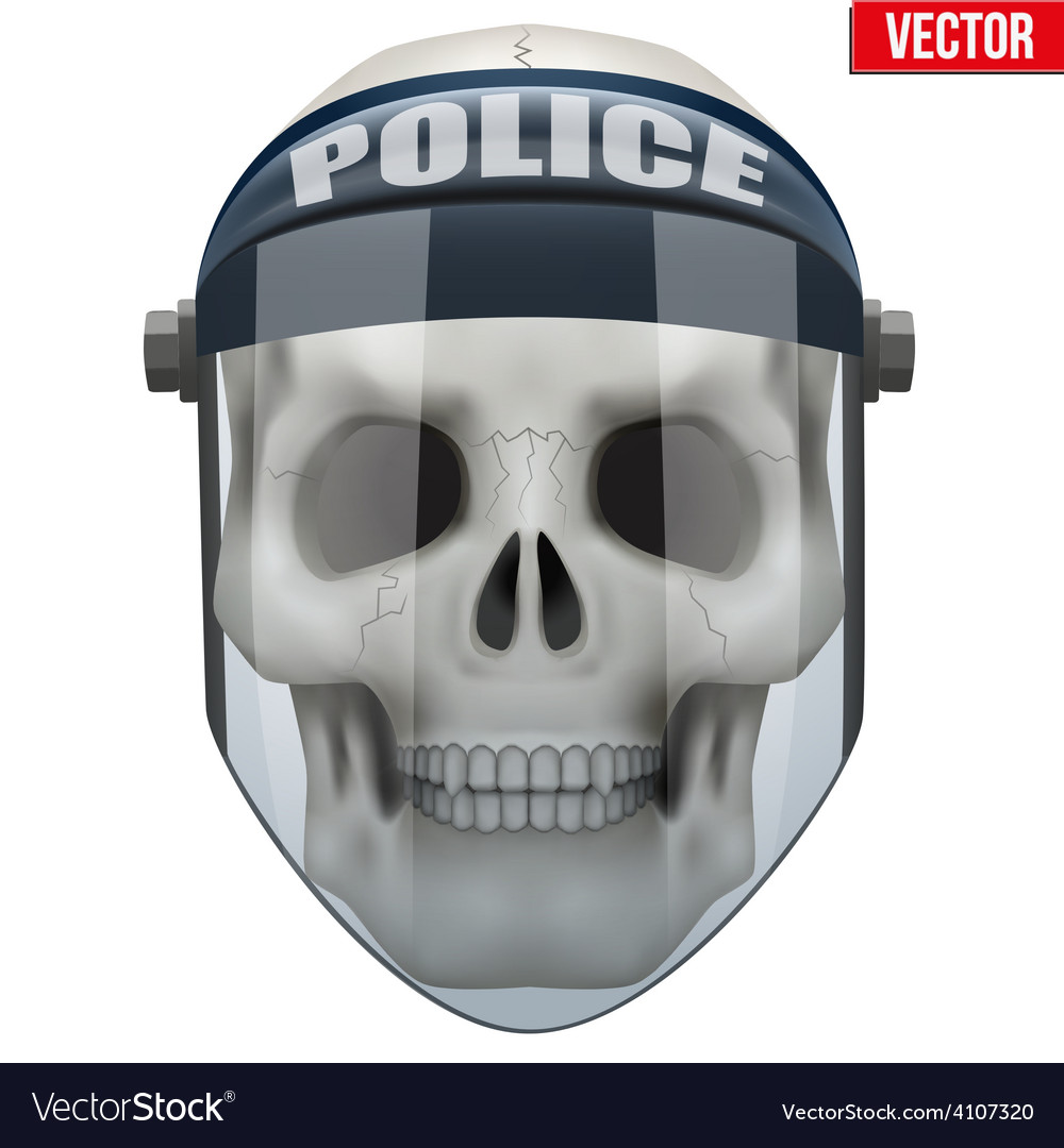 Human skull with police protect mask on vector | Price: 3 Credit (USD $3)