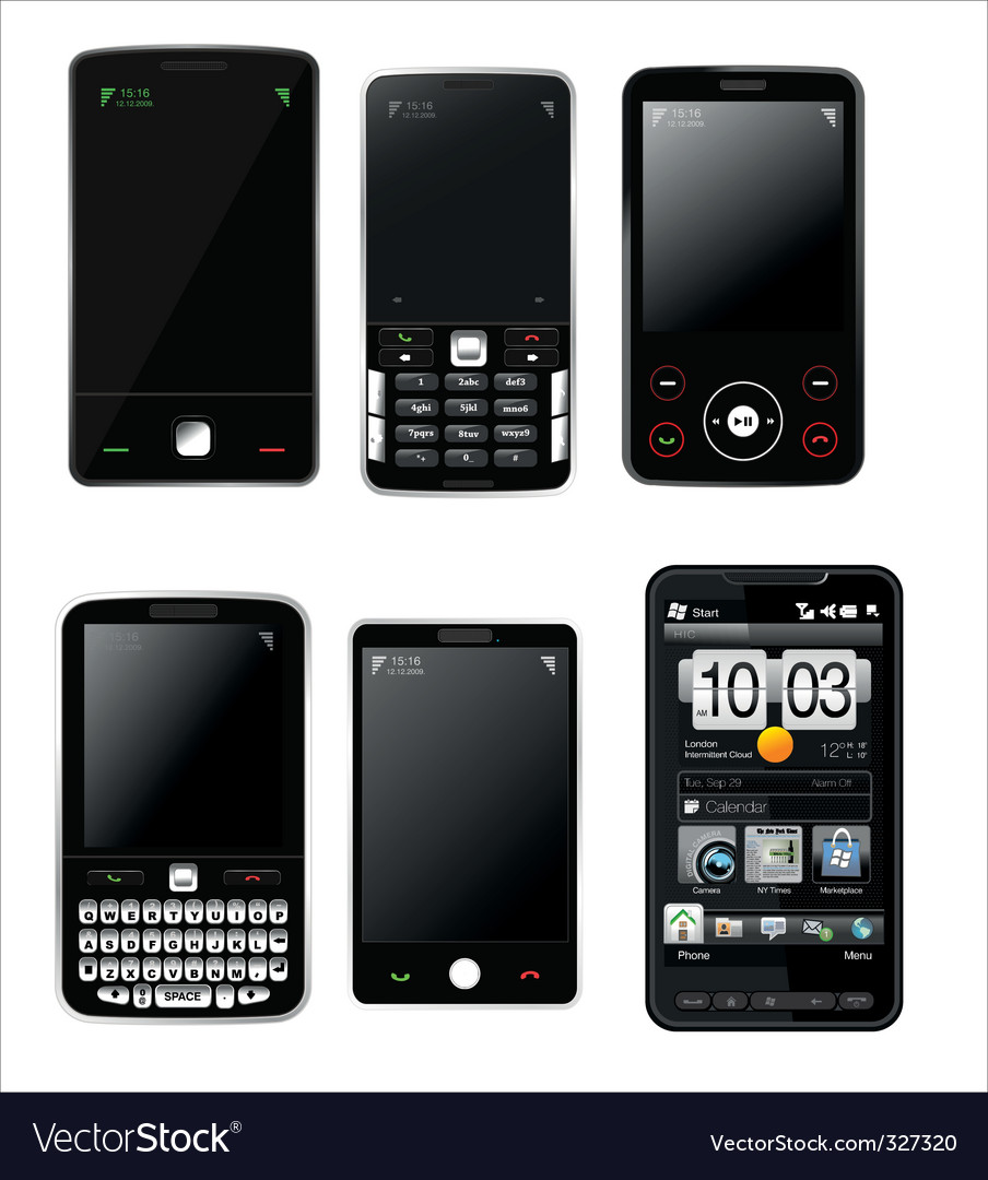 Mobile phones set vector | Price: 1 Credit (USD $1)