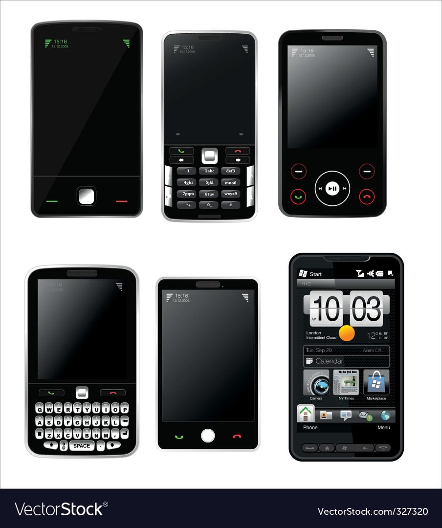 Mobile phones set vector | Price: 1 Credit (USD $1)