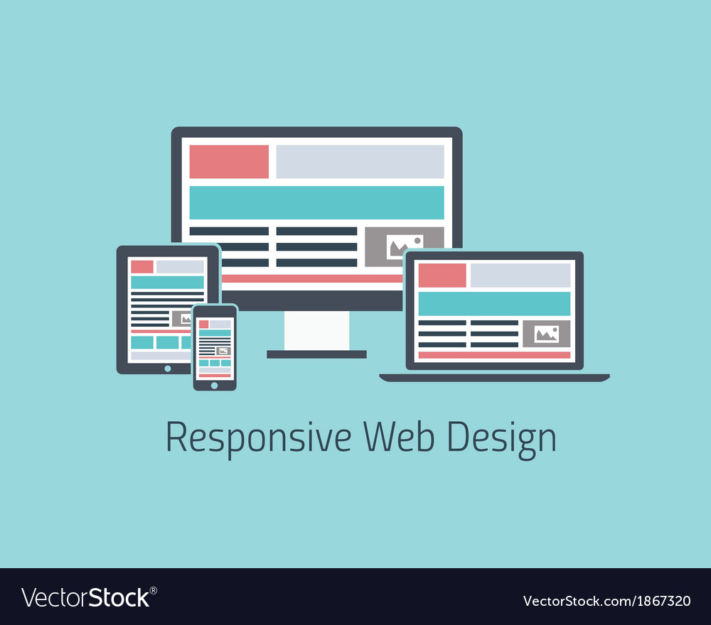Responsive web design development flat styl vector | Price: 1 Credit (USD $1)
