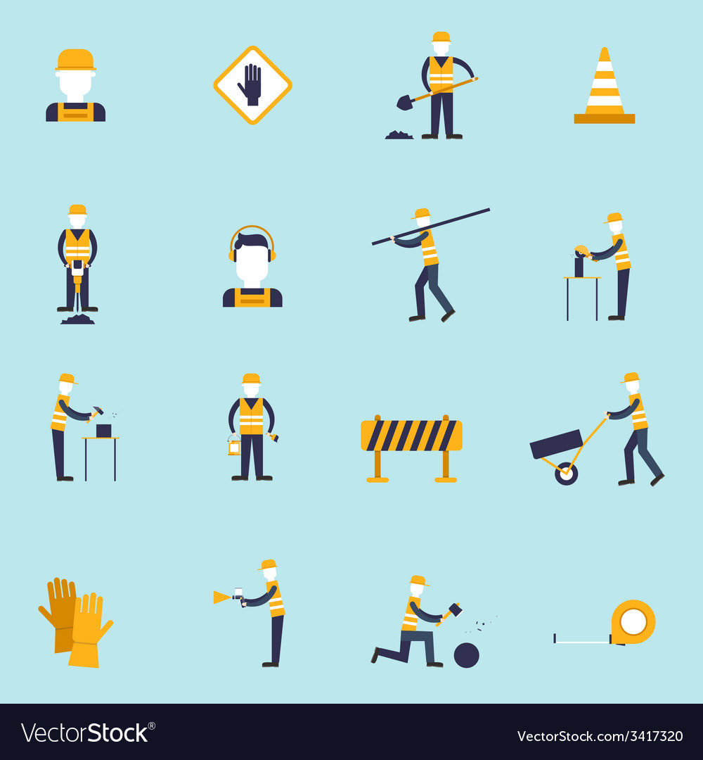 Road worker flat icon vector | Price: 1 Credit (USD $1)