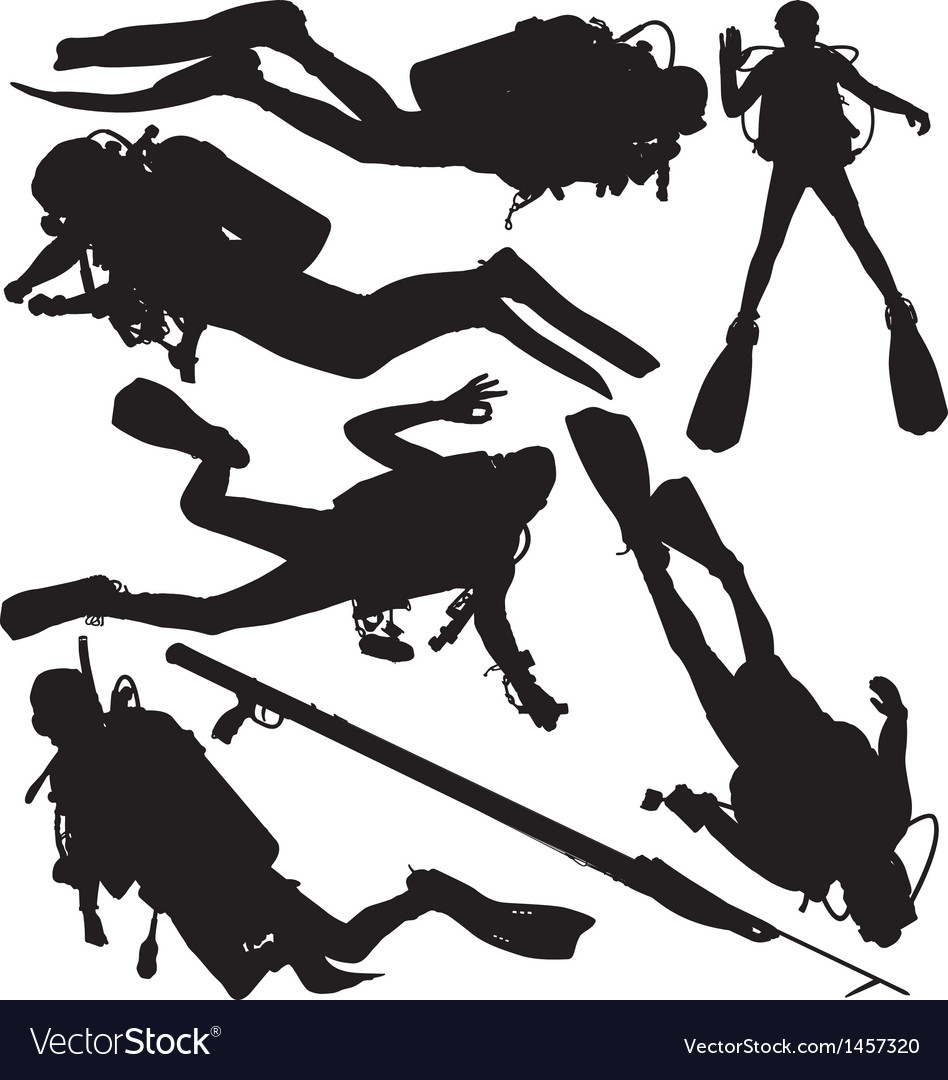 Scuba diver speargun silhouettes vector | Price: 1 Credit (USD $1)