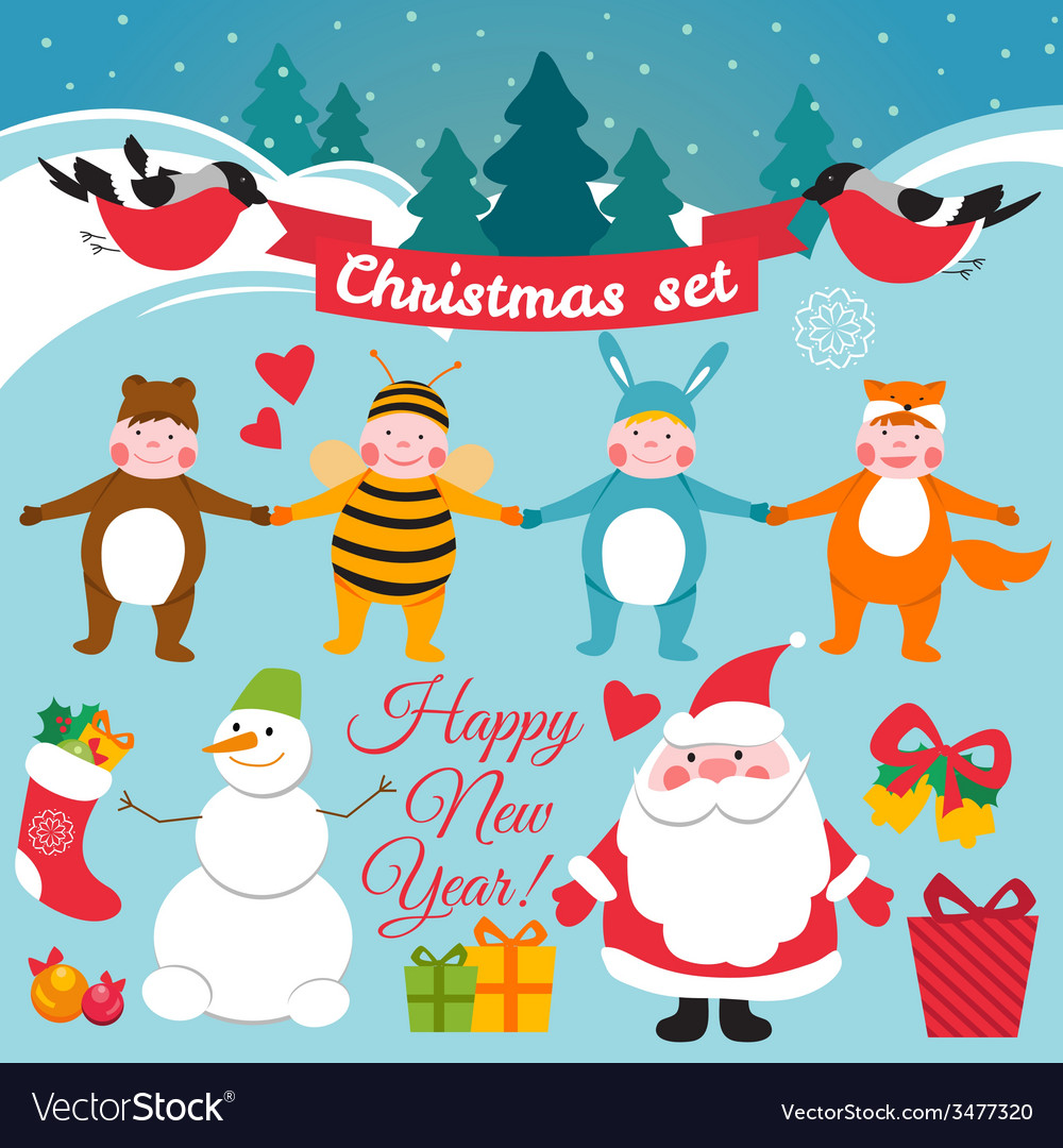 Set of colorful christmas characters and vector | Price: 1 Credit (USD $1)