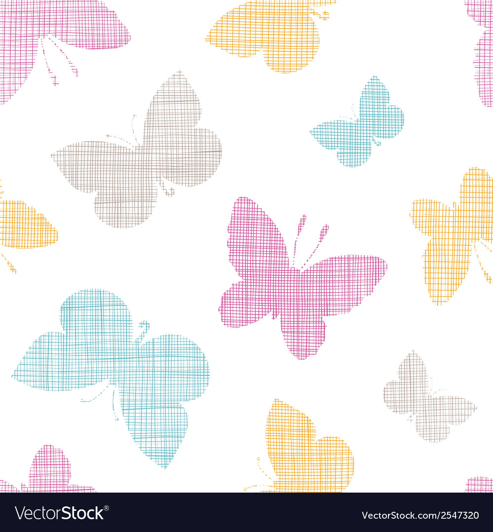 Textile textured colorful butterflies seamless vector | Price: 1 Credit (USD $1)
