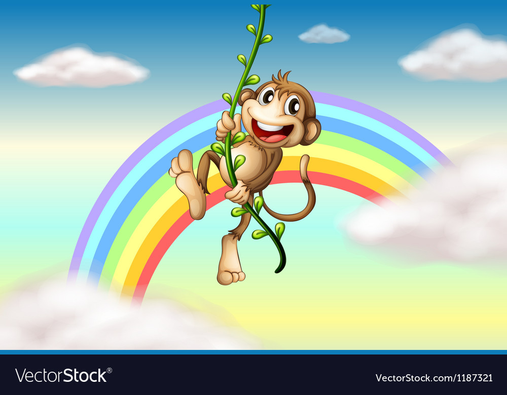 A monkey hanging on a vine plant near the rainbow vector | Price: 1 Credit (USD $1)