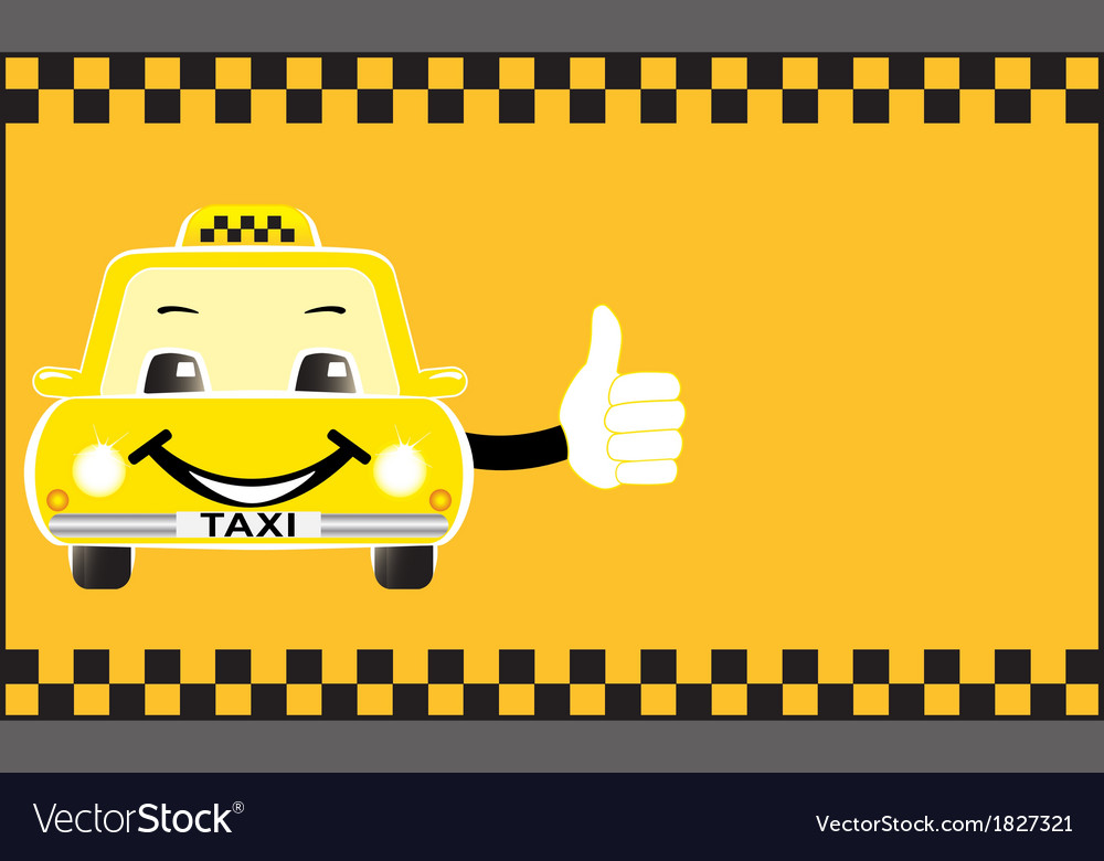 Advertising card cartoon taxi showing thumb up vector | Price: 1 Credit (USD $1)