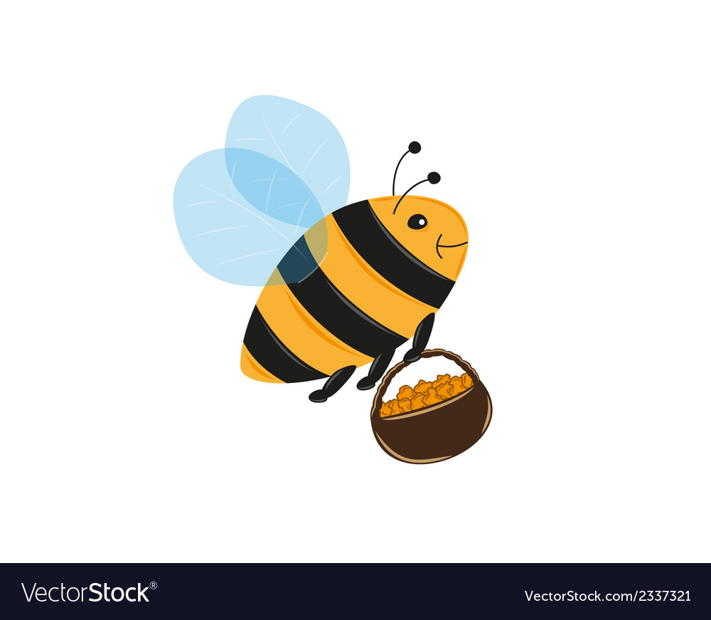 Bee and basket full of pollen or honey vector | Price: 1 Credit (USD $1)
