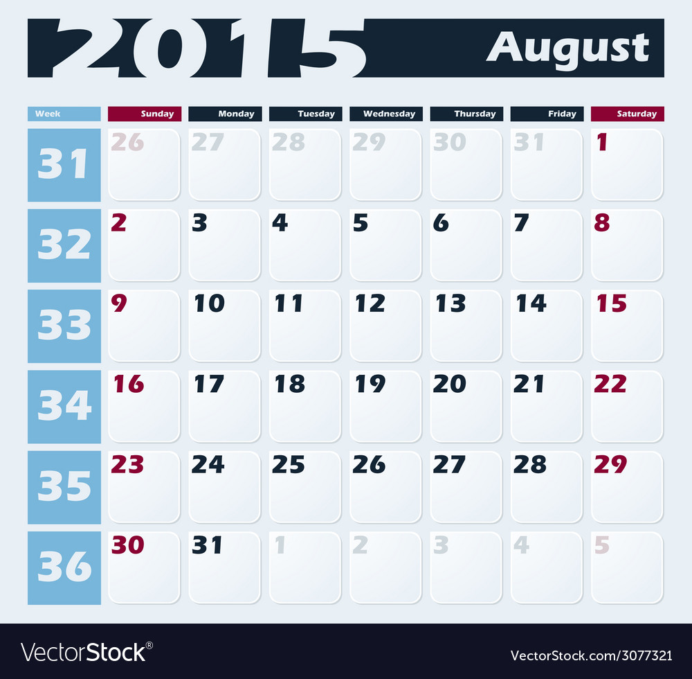 Calendar 2015 august design template vector | Price: 1 Credit (USD $1)