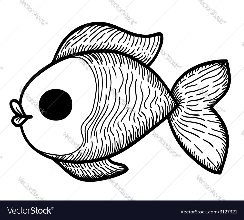 Cartoon hand drawn fish vector | Price: 1 Credit (USD $1)