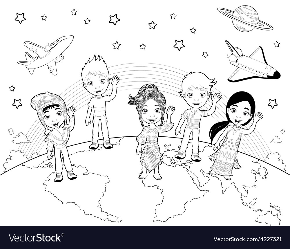 Children on the world in black and white vector | Price: 1 Credit (USD $1)