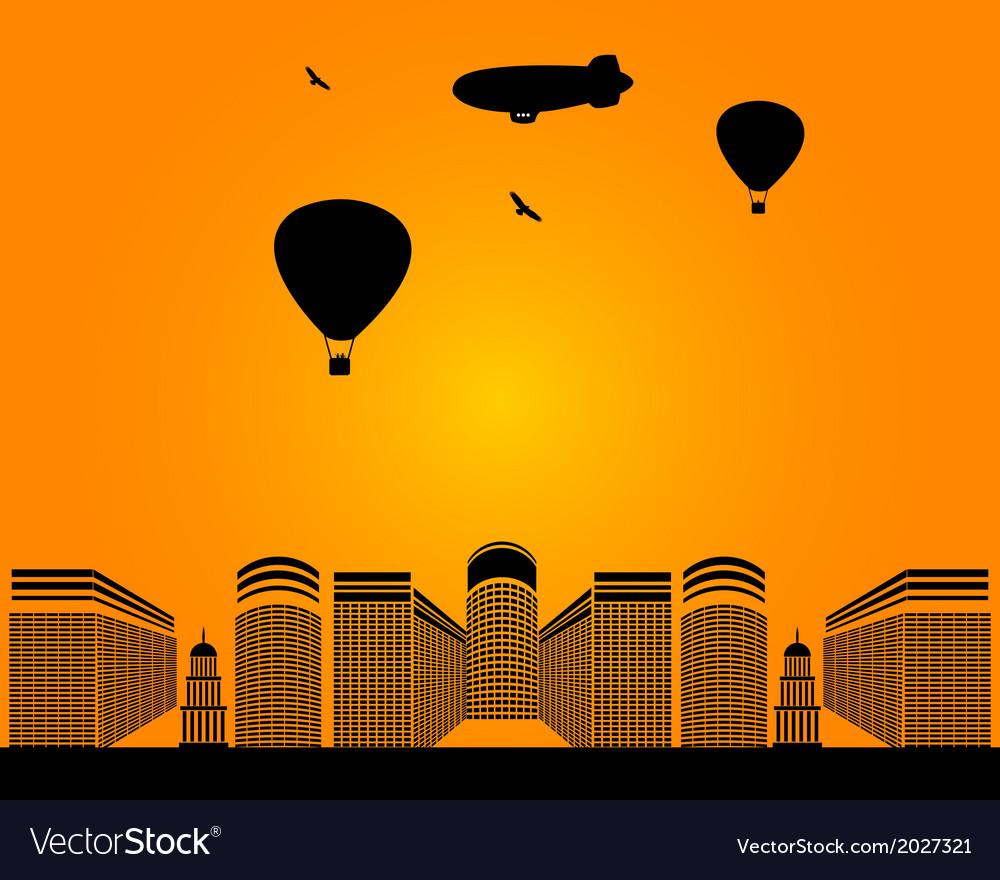 City buildings zeppelin vector | Price: 1 Credit (USD $1)