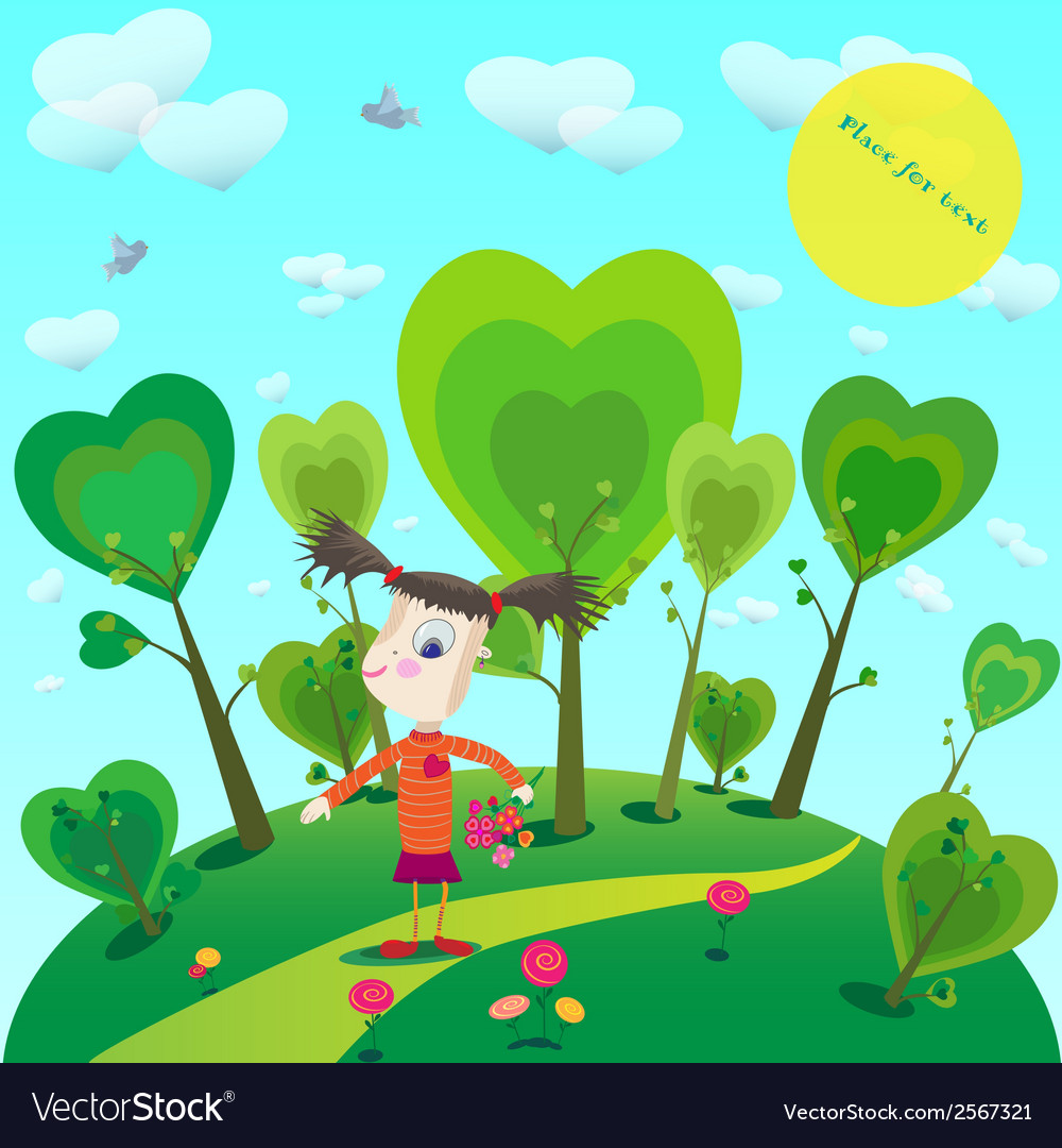 Little girl with flowers in fantasy world vector | Price: 1 Credit (USD $1)