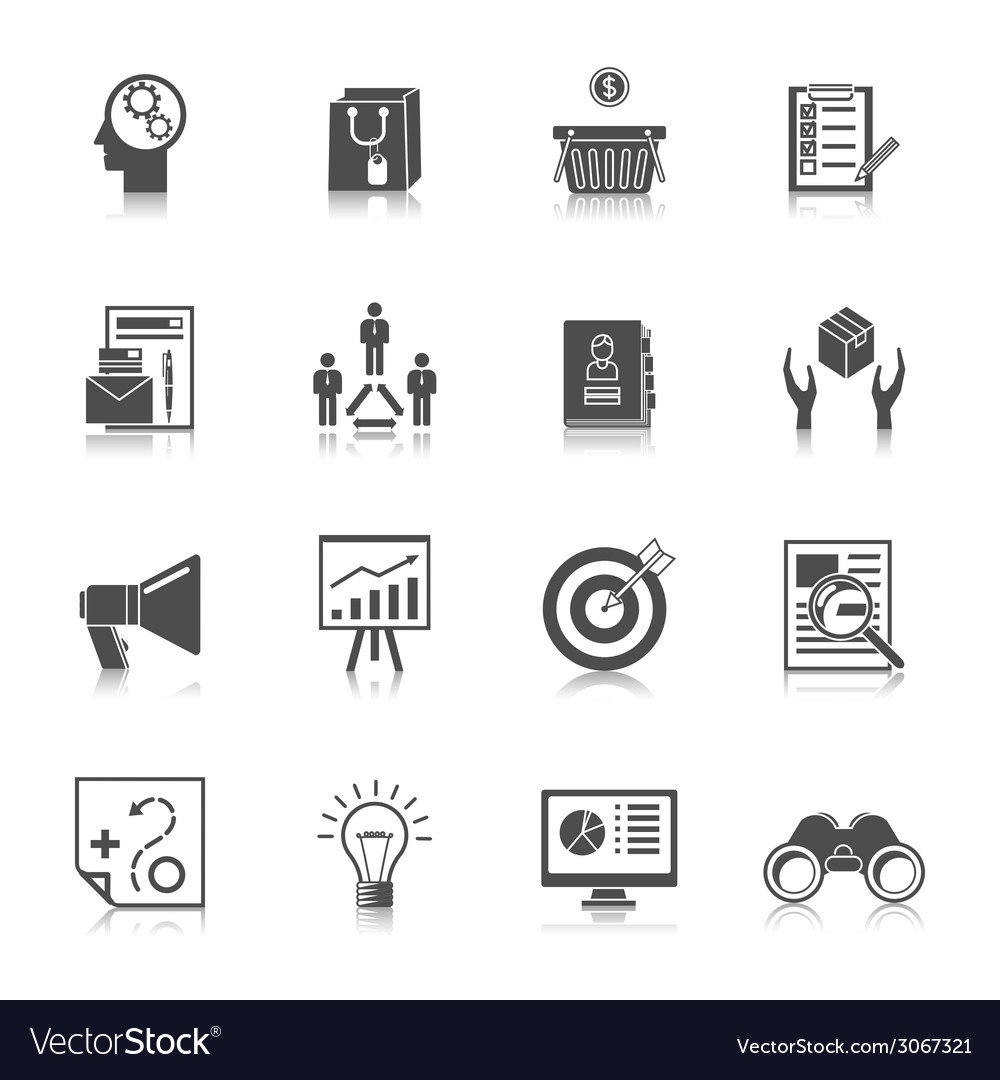 Marketers black icons set vector | Price: 1 Credit (USD $1)