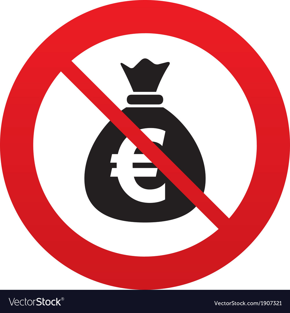 No money bag sign icon euro eur currency vector | Price: 1 Credit (USD $1)