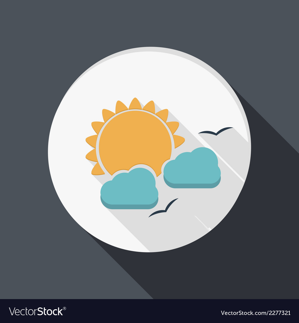 Paper flat icon sun behind the cloud vector | Price: 1 Credit (USD $1)