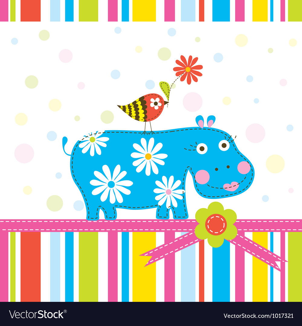 Scrapbook animals greeting card vector | Price: 1 Credit (USD $1)