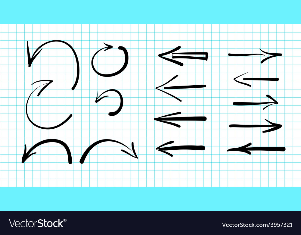 Set of hand-drawn arrow doodles vector | Price: 1 Credit (USD $1)