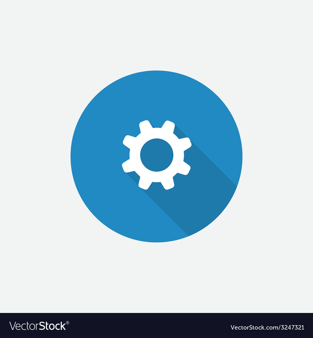 Settings flat blue simple icon with long shadow vector | Price: 1 Credit (USD $1)