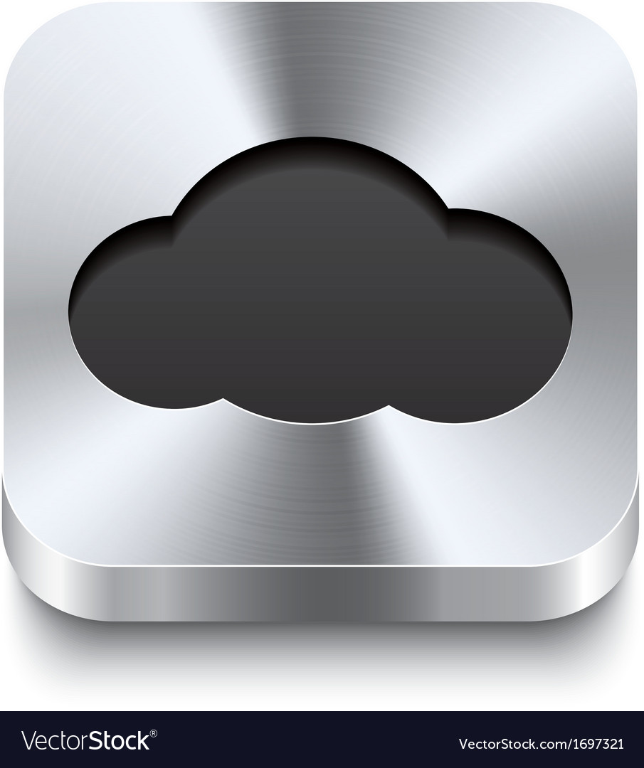 Square metal button perspektive - cloud icon vector | Price: 1 Credit (USD $1)