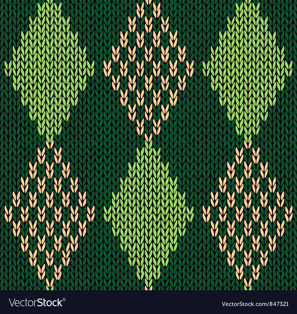 Style seamless green color knitted pattern vector | Price: 1 Credit (USD $1)
