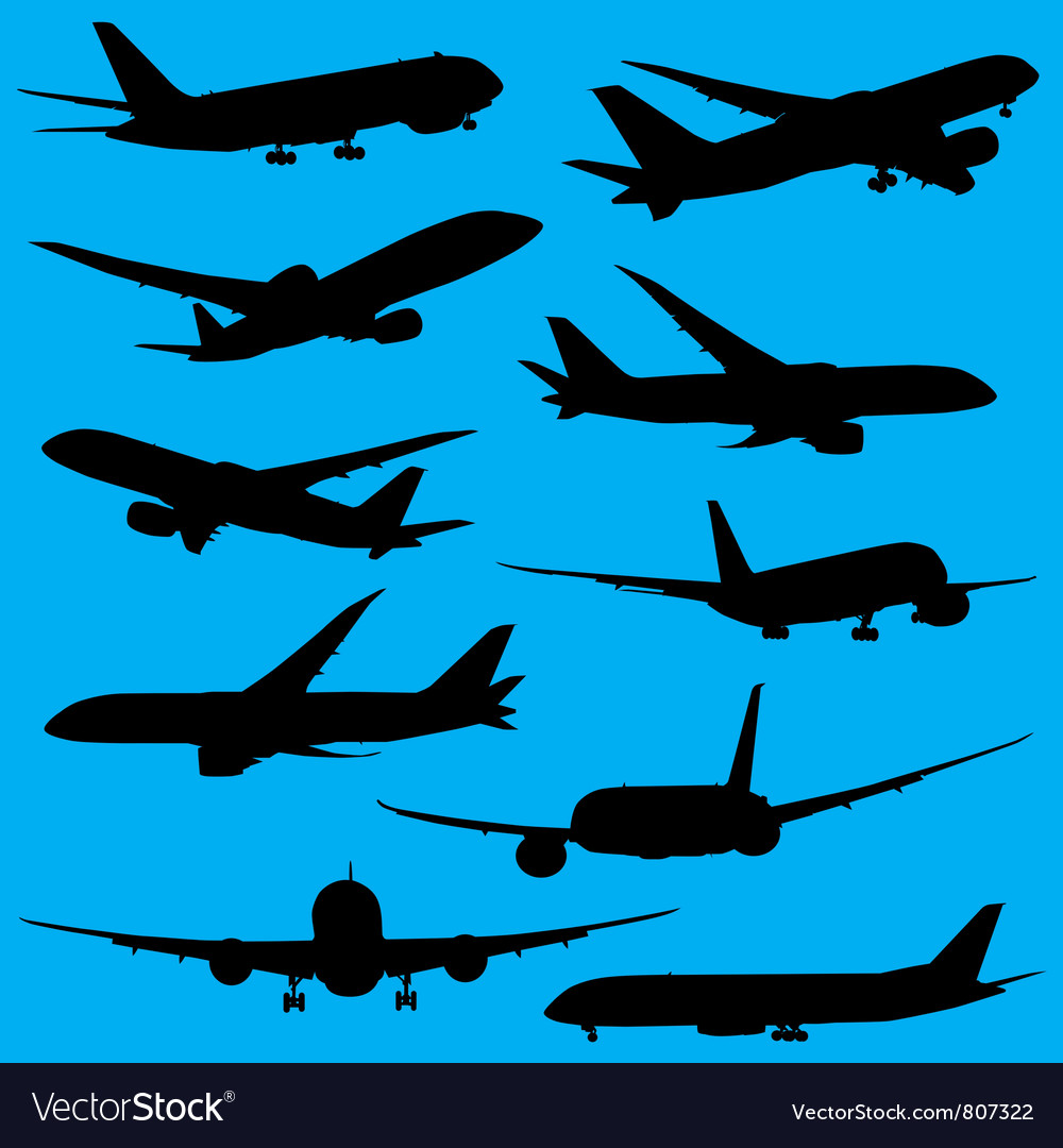 Airplanes silhouettes part 2 vector | Price: 1 Credit (USD $1)
