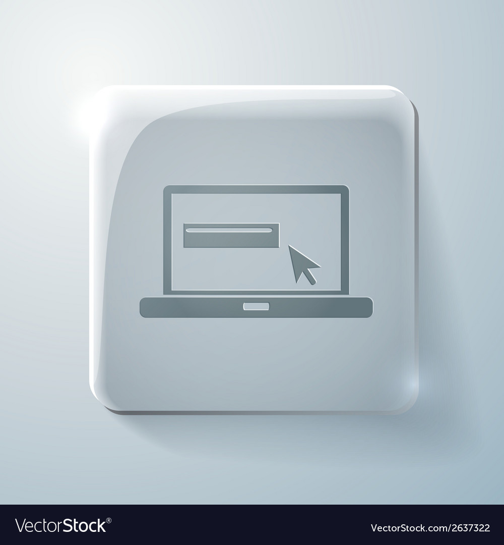 Glass square icon with highlights laptop vector | Price: 1 Credit (USD $1)