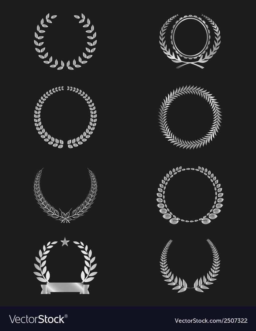 Silhouettelaurel wreaths set vector | Price: 1 Credit (USD $1)