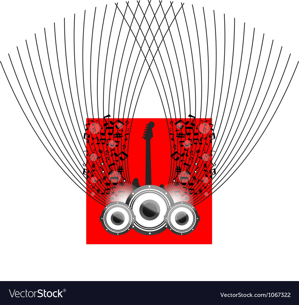 Speakers and guitar on beautiful shiny red vector | Price: 1 Credit (USD $1)