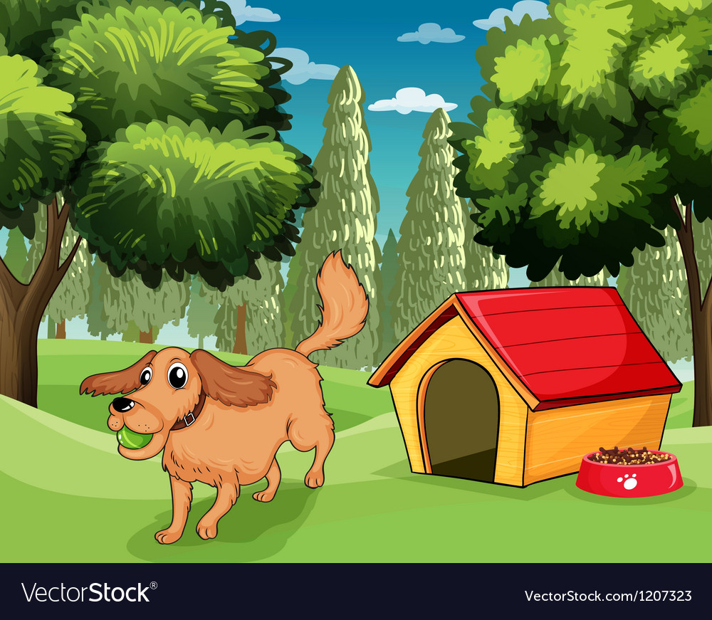 A dog playing outside a dog house vector | Price: 1 Credit (USD $1)