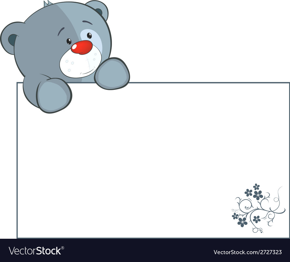 A stuffed toy bear cub with a empty blank cartoon vector | Price: 1 Credit (USD $1)