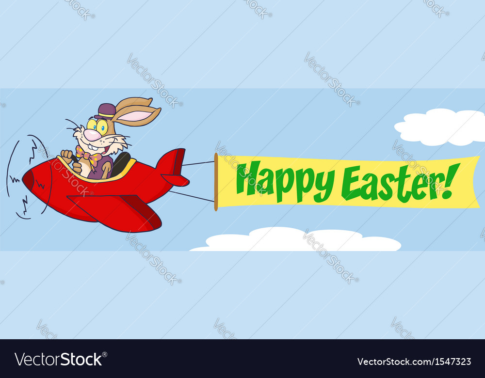 Bunny flying a plane with banner vector | Price: 1 Credit (USD $1)