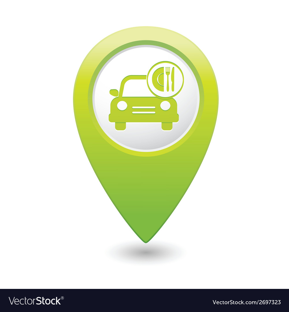Car with fast food icon pointer green vector | Price: 1 Credit (USD $1)