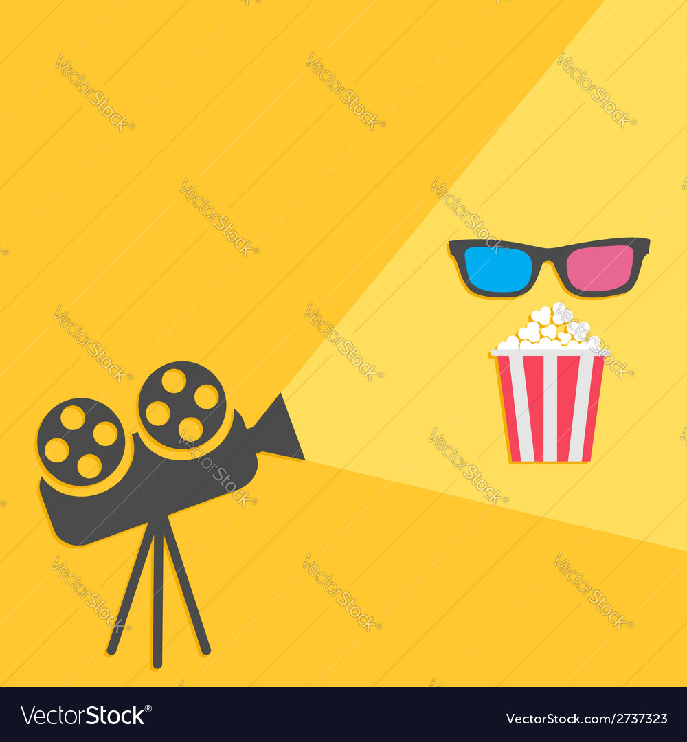 Cinema projector with light and popcorn 3d glass vector | Price: 1 Credit (USD $1)