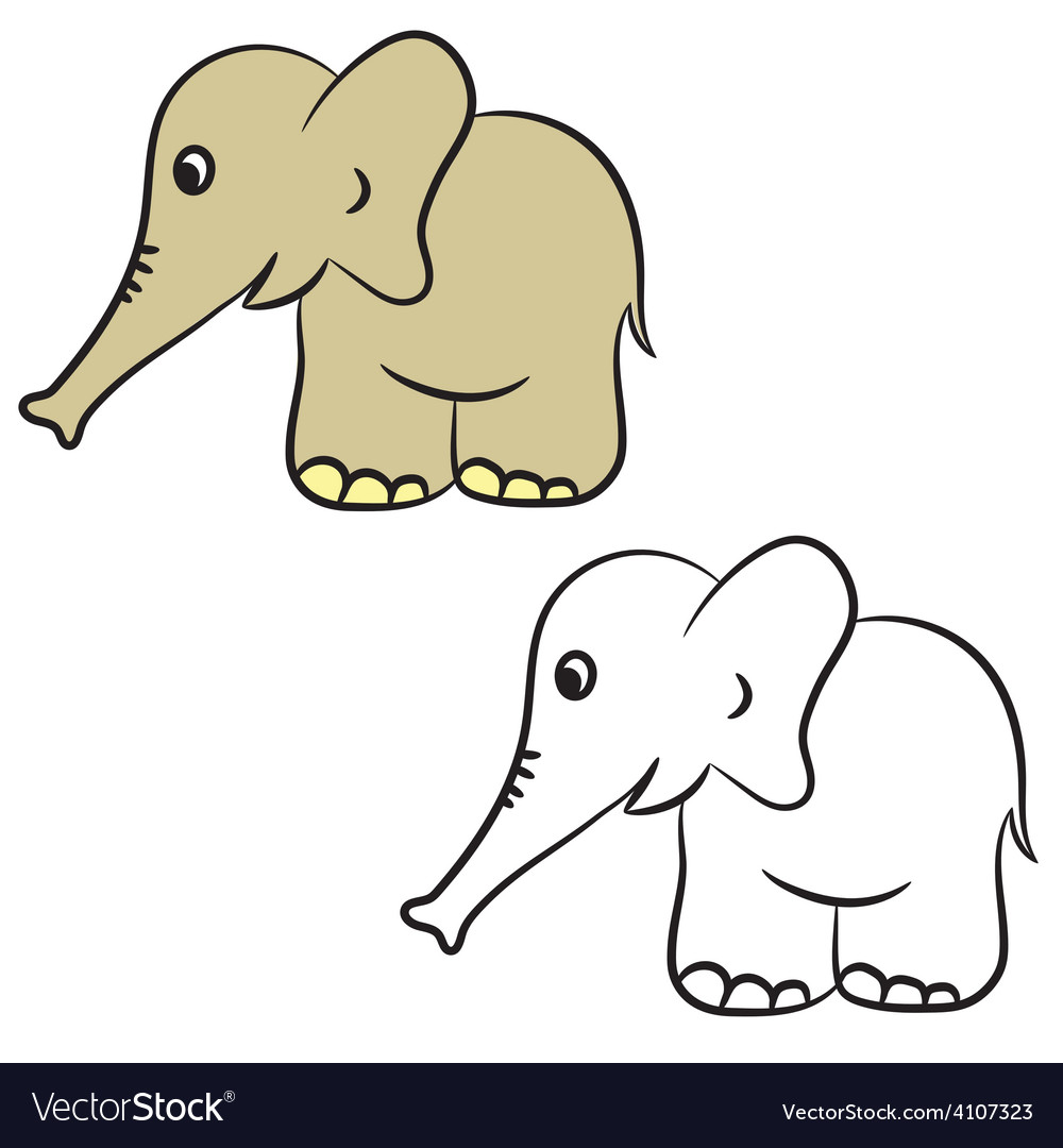 Elephant coloring book vector | Price: 1 Credit (USD $1)
