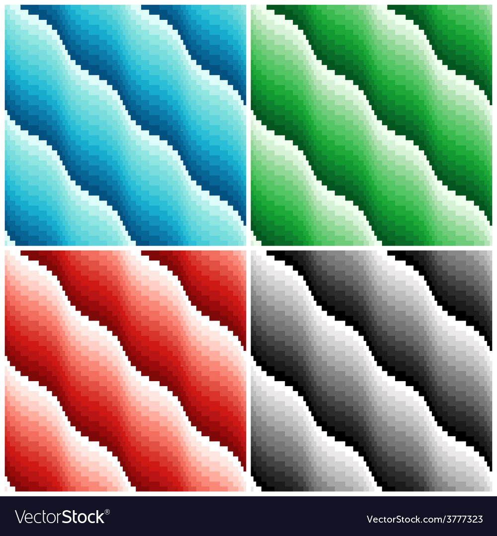 Four colored wavy seamless patterns vector | Price: 1 Credit (USD $1)