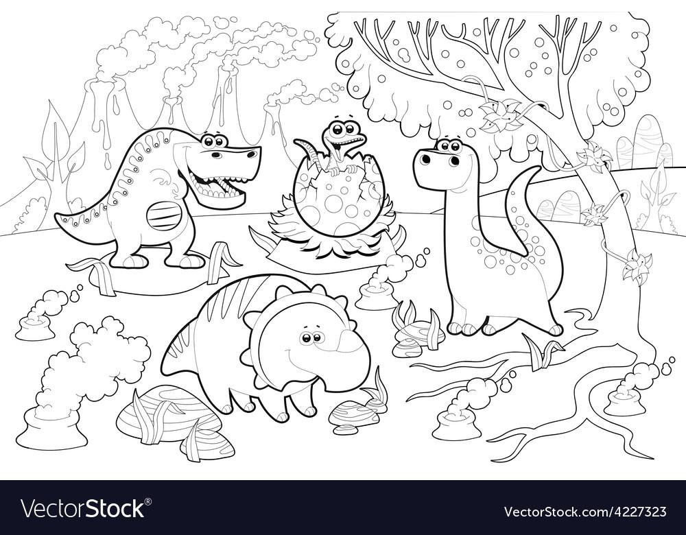 Funny dinosaurs in a prehistoric landscape black vector | Price: 3 Credit (USD $3)