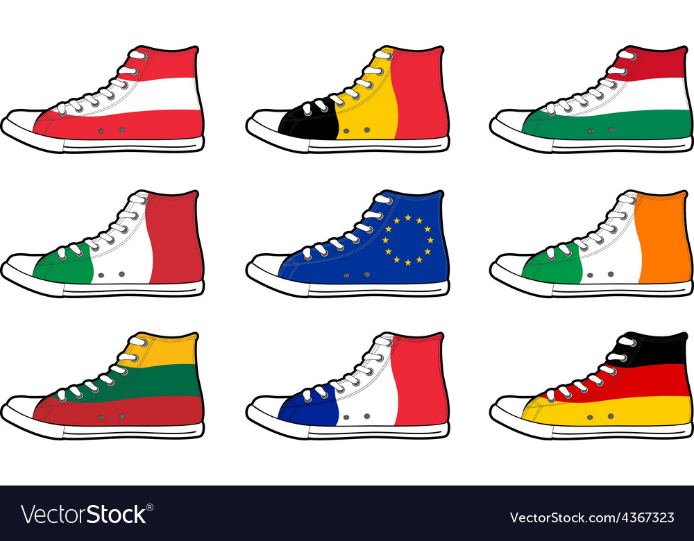 Isolated modern sneakers with europe union flags vector | Price: 1 Credit (USD $1)