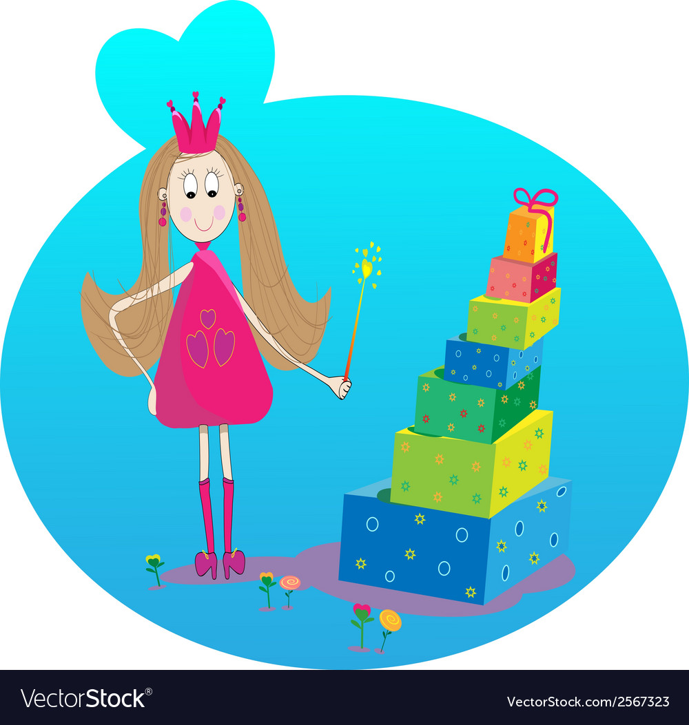 Little fairy gift and flowers vector | Price: 1 Credit (USD $1)