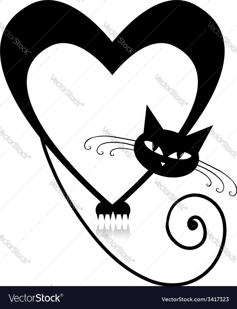 Love cat silhouette for your design vector | Price: 1 Credit (USD $1)