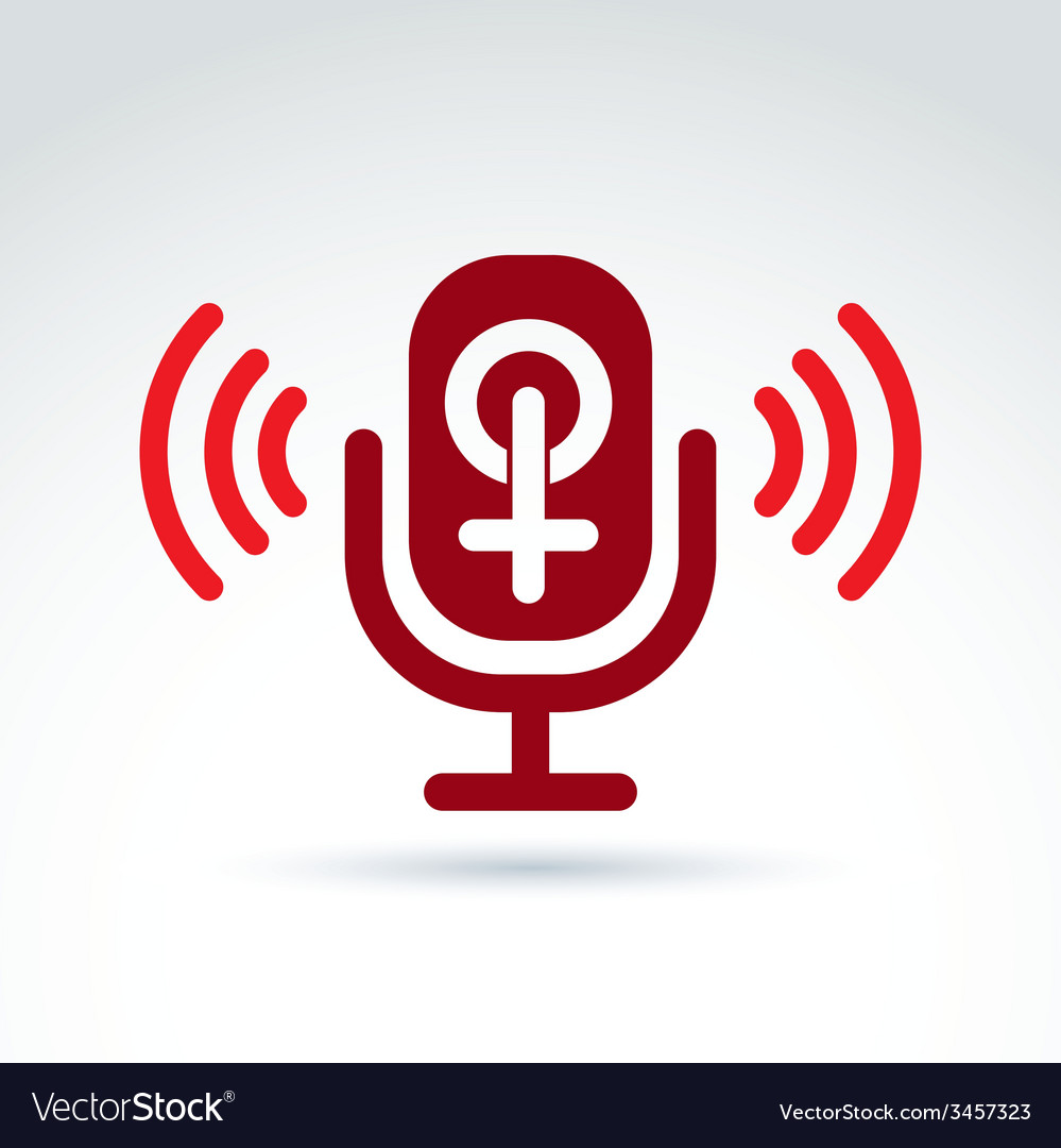 Microphone with a red female sign woman gender vector | Price: 1 Credit (USD $1)