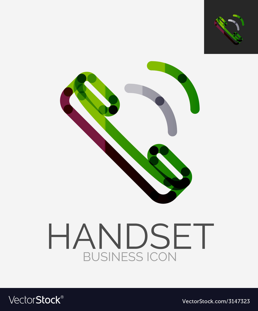 Minimal line design logo phone handset icon vector | Price: 1 Credit (USD $1)