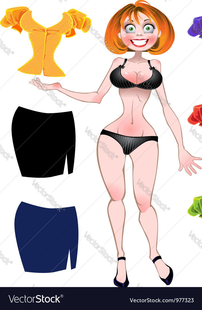 Nude sexy woman with set of different colors vector | Price: 3 Credit (USD $3)