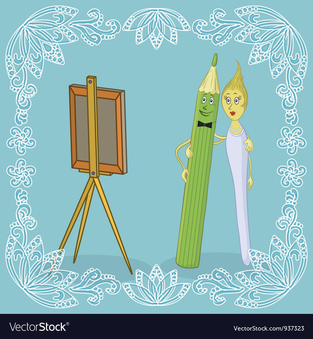Pencil brush and easel vector | Price: 3 Credit (USD $3)