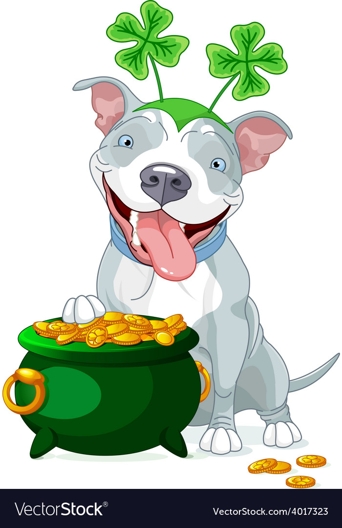 Pit bull celebrates saint patrick day vector | Price: 3 Credit (USD $3)
