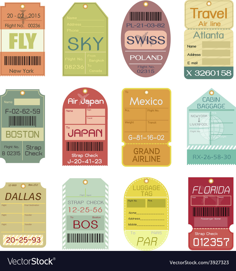 Set of vintage luggage tags vector | Price: 1 Credit (USD $1)