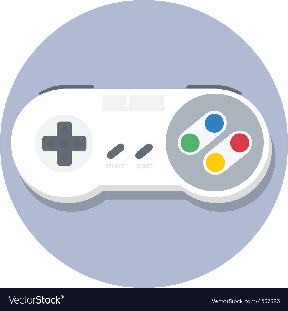 Vintage super nintendo snes gamepad flat icon vector | Price: 1 Credit (USD $1)