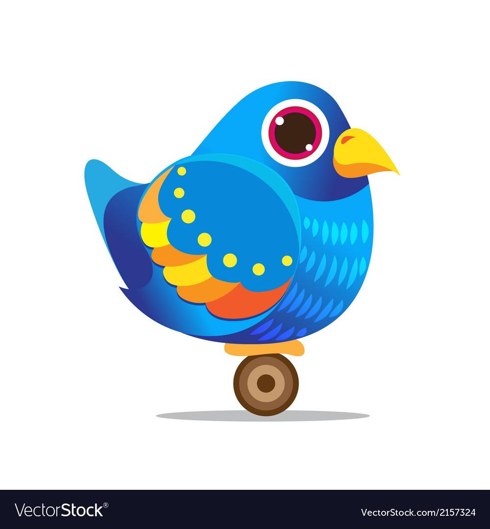 Blue bird cute cartoon abstract vector