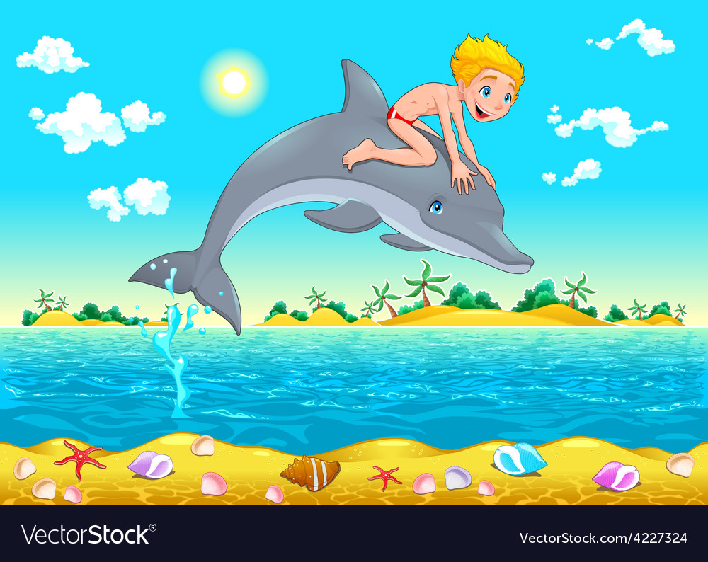 The boy and the dolphin in the sea vector | Price: 3 Credit (USD $3)